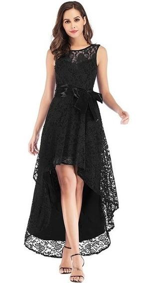 Vestido Formal Dama Fiesta Noche Encaje Negro Plata Vino