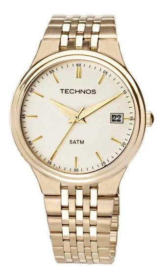 Relógio Dourado Masculino Technos Classic Steel 2115gr/4x