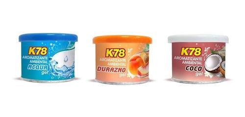 Perfume Fragancia En Lata Gel Auto K78 Grande 80grs X3