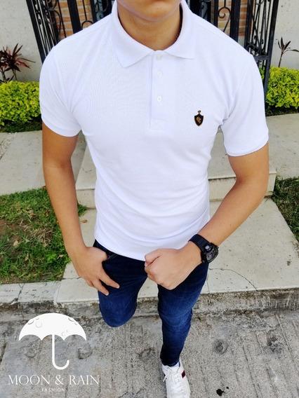 Polo Slim Fit Blanco Escudo Lion 1# Moon & Rain