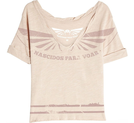 Camiseta Feminina Shoulder Nv34 Nascidos P/ Voar Paraquedas