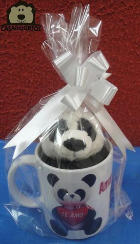 Imagem 1 de 6 de Caneca Porcelana Cute Com Ursinho Panda 15cm Namorados Love
