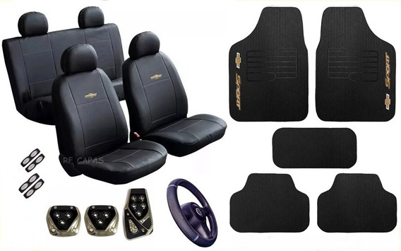 Kit Proteção Capa Couro Tapete Pedaleira Chevrolet
