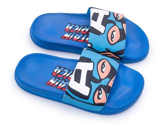 Ojotas Marvel Capitan America Sandalia Niños Atomik Azules