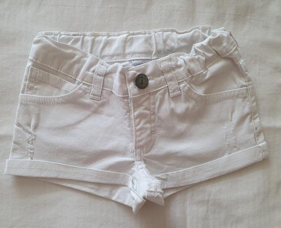 Short Tipo Modelo De Jean.cheeky Blanco Talle 4 Años