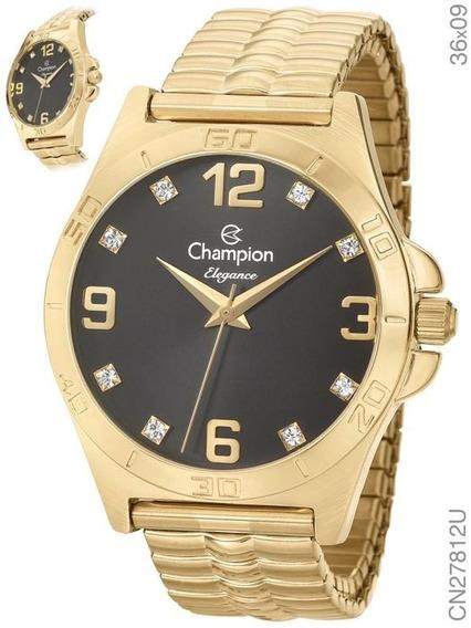 Relógio Champion Feminino Dourado Cn27812w Original Fgrátis