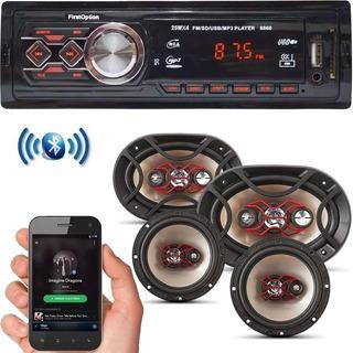 Kit Som Carro Radio Mp3 Bluetooth Usb + Auto Falante 6 + 6x9