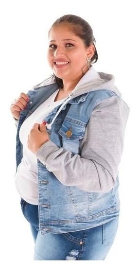 Jaqueta Plus Size Capuz Moletom Feminina Inverno