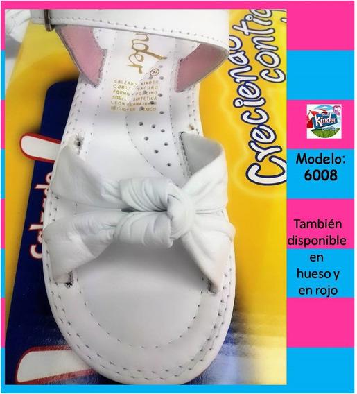 Huaraches Marca Kinder Para Niña 6008 Blanco 21.5 Al 23