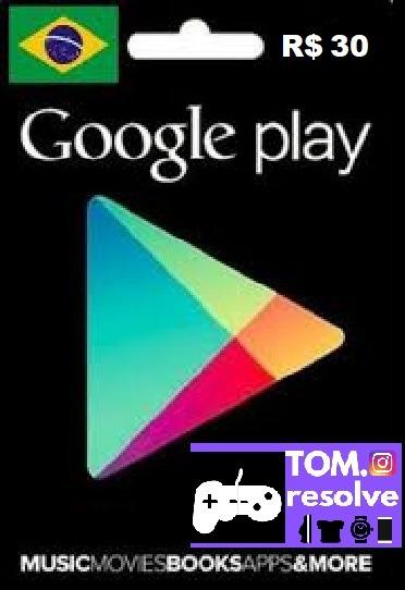 Card De R$ 30,00 Google Play Store Brasil (envio Imediato)