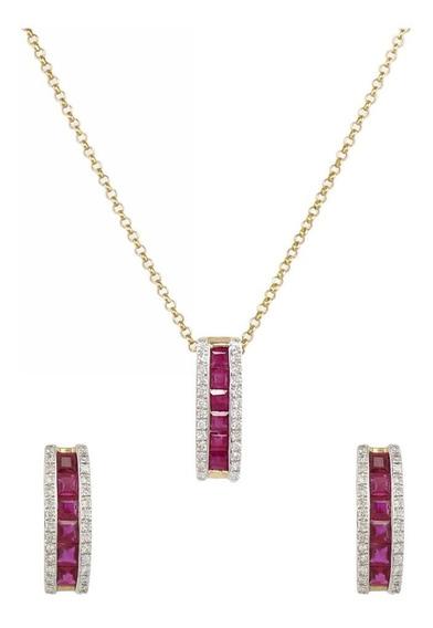 Set De Joyería Con 82 Diamantes Y 18 Rubíes Oro De 14k