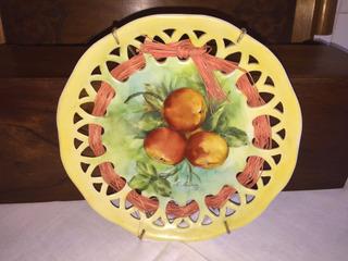 Prato Pessegos - Decoração - Lateral Recortada - Pintado