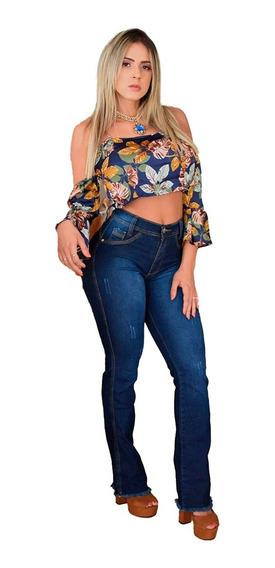 Calça Boca De Sino Flare Feminina Jeans Cós Alto Promoção