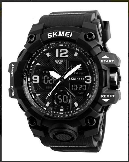 Relógio Masc. Skmei 1155b Digital Analógico + Caixa Acrílica