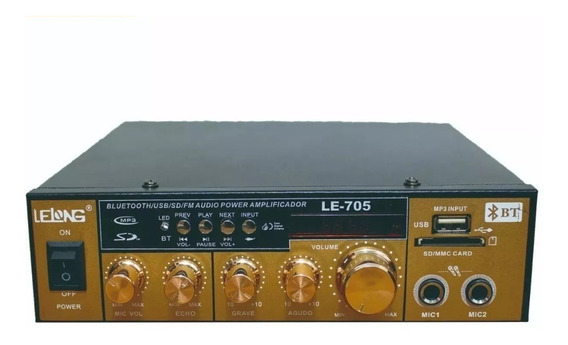 Amplificador Audio Receiver Som Ambiente Bluetooth Fm Usb