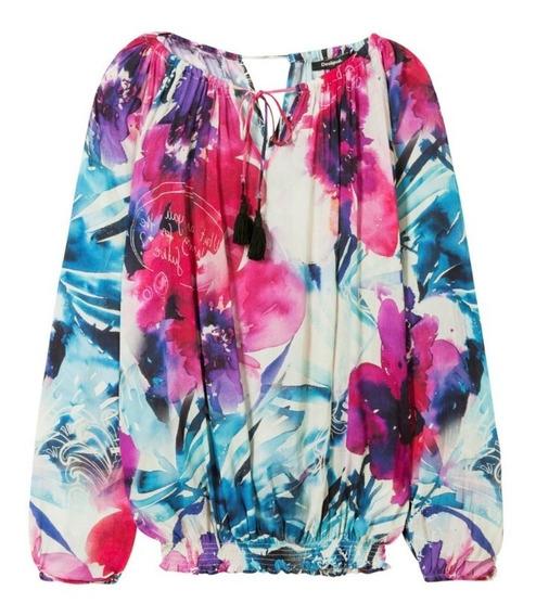 Blusa Desigual Estampado Floral Rosa Y Azul