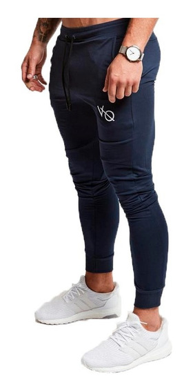 Pants Jogger Fitness Azul Logotipo Bordado