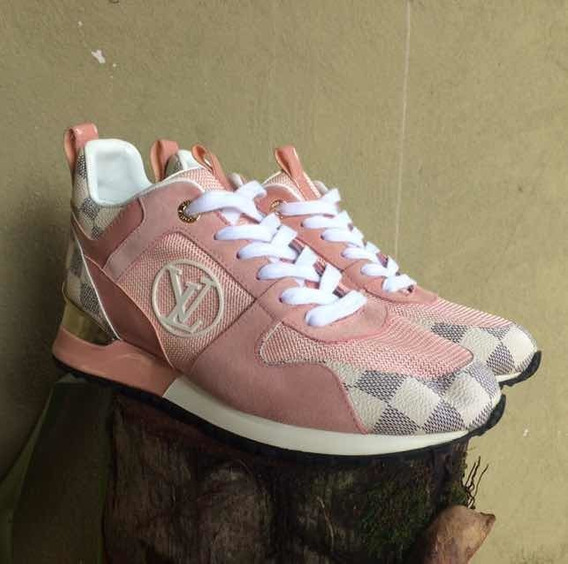 Tenis Louis Vuitton Run Away Rosa E Dourado