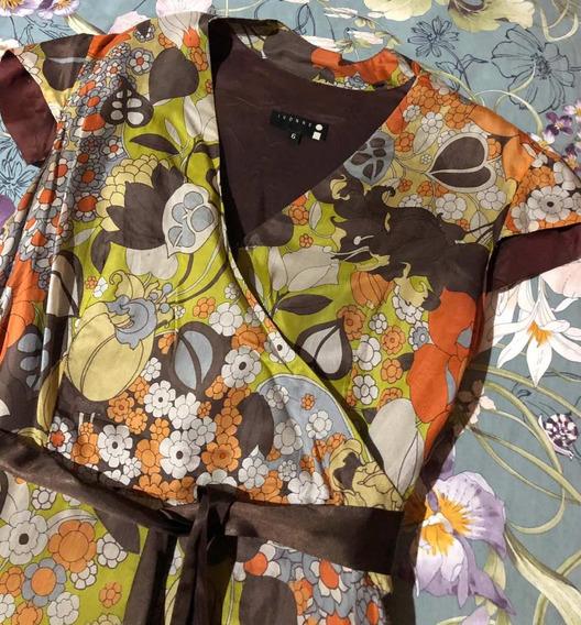 Vestido De Seda Flores