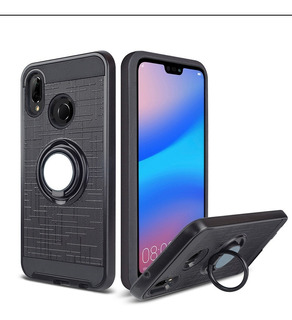 Funda + Vidrio Para Huawei P20 Lite Negro Anillo, Apoyo Imán