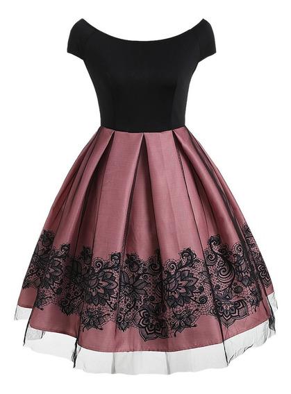 Vestido Dama Juvenil Fiesta Elegante Colores Rosa Y Negro / Blanco Y Negro