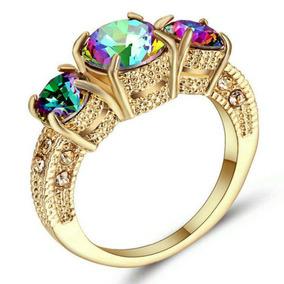 Aro 21 Anel Feminino Pedra Quartzo Místico Arco Iris Dia 493