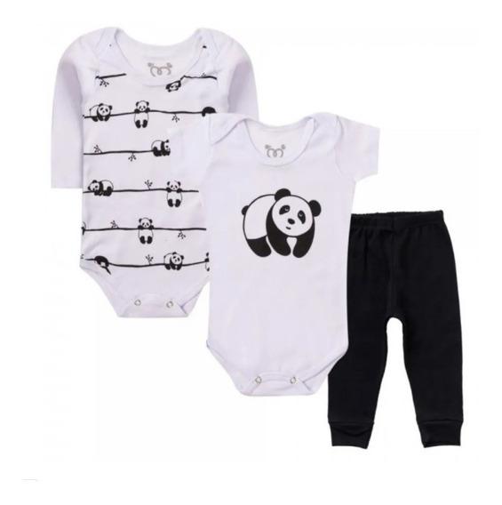 3 Pçs Roupa Bebê Body Urso Panda Bodie Neném Menino Menina