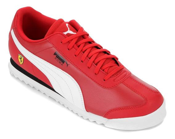 Tênis Couro Puma Ferrari Roma Masculino - Vermelho E Branco