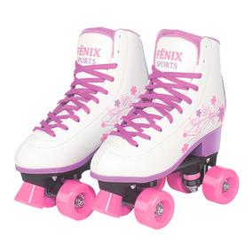Patins 4 Rodas Clássico Branco E Roxo 36 Ao 37 Roller Skate