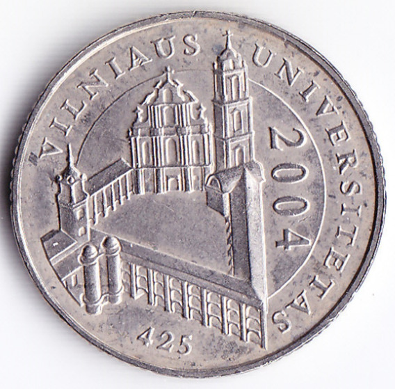 Lituania Moneda 1 Lita 2004 Niquel Universidad Vilnius Unc