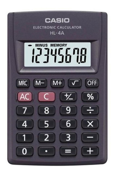 Calculadora Casio Hl-4a 8 Digitos Display Grande Bolsillo