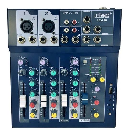 Mesa Controle De Som Usb Bluetooth Profissional 4 Ch Canais
