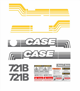 Kit Adesivo Pá Carregadeira Case 721b Completo + Etiqueta Mk