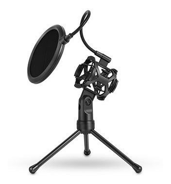 Mini Tripé Pop Filter Shockmount P/microfones Estúdio Rádio