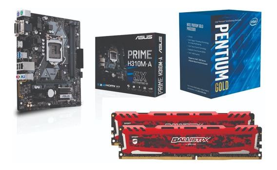 Kit 8ª Pentium G5400 + Mb Asus H310-a + 8gb 2400 Ballistix