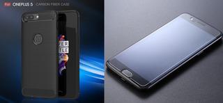 Película De Vidro + Case Capa Tpu Carbon Fiber | Oneplus 5