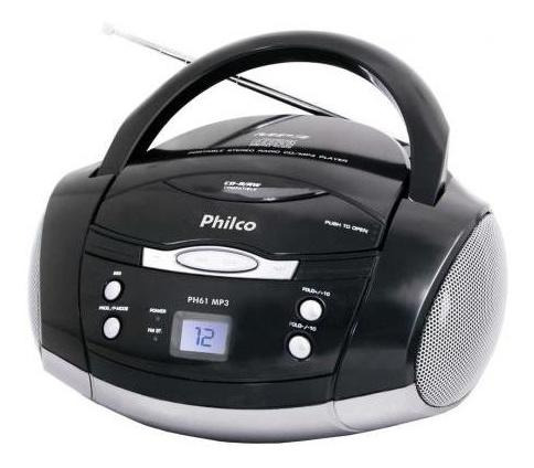 Som Portátil Philco Ph61, Rádio Fm Estério, Cd-r/rw, Auxiliar, Bivolt - Preto