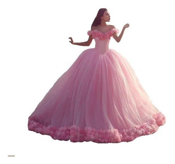 Vestido De Quince A Realizar A Medida Con Enagua Flores 3d