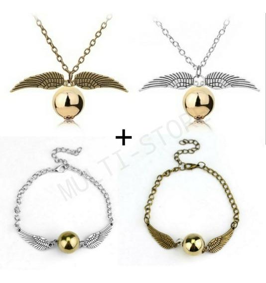 Pulseira+colar Feminino Pomo De Ouro Harry Potter Promoção