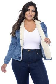 Jaqueta Jeans Plus Size Com Gola De Pele