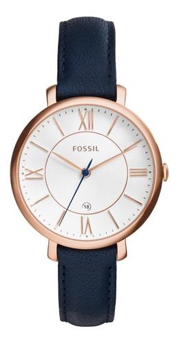 Reloj Dama Fossil Es3843 Color Azul De Piel