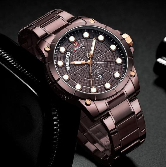 Relógio Masculino Modelo Luxo Oficial Naviforce Cinza Chumbo