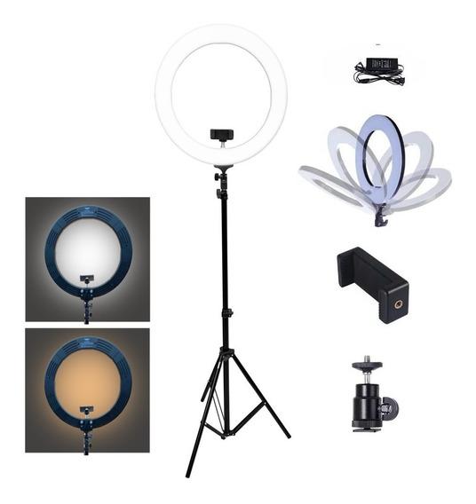 Iluminador Ring Light Bicolor 80w Com Tripe 448 Leds Mlg-048