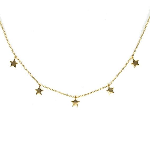 Collar Gargantilla Con Estrellas Plata .925 Chapada En Oro