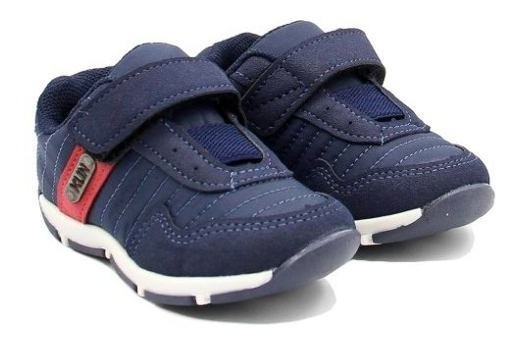 Sapato Outdoor Tecido Fechamento Velcro Marinho Confortável