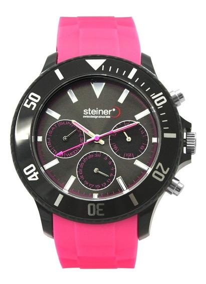Reloj Steiner Unisex Rosa Con 2 Correa Negra Y Rosa