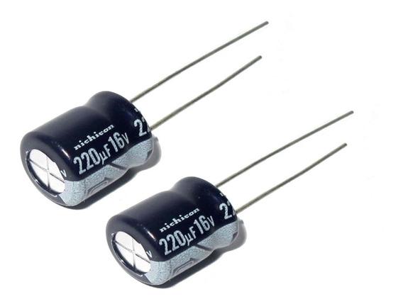 Capacitor 220uf 16v Electrolítico Arduino Pack X 10 Unidades