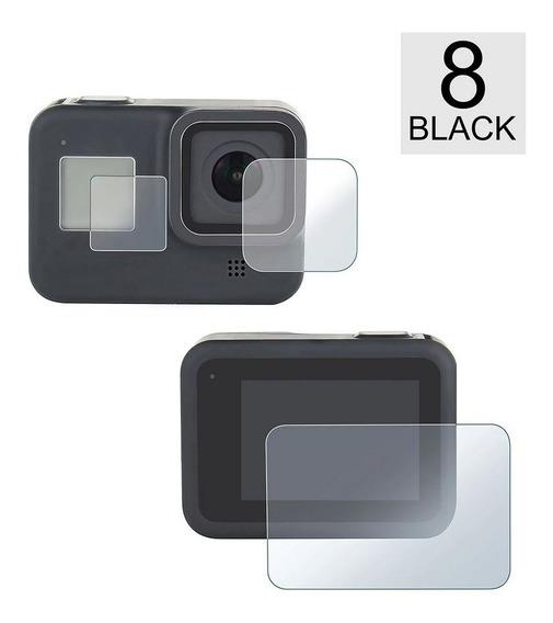 Conjunto Película Vidro Lente Tela Lcd Gopro Hero 8 Black