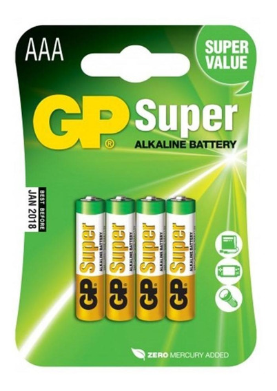 08 Pilhas Aaa Alcalina Gp Super - 02 Cartelas Com 4 Unids