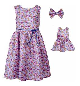 Vestido Petit Boneca E Criança Lilás (valor Do Kit)